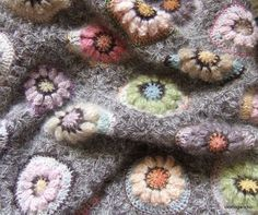 Mohair used in granny squares for a baby blanket - interesting texture.
