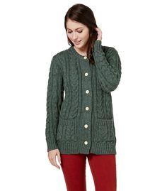 Strickjacke mit Rundhalsausschnitt und Aran-Muster aus reiner Wolle für Damen