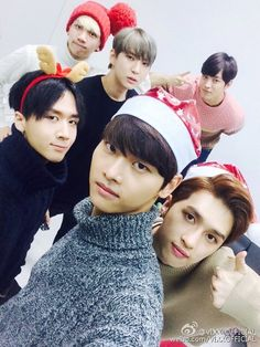 Ravi (라비), N (엔), Ken (켄) , Hyuk (혁), Leo(레오) and Hongbin (홍빈), who are all of the members of the South-Korean boy group VIXX (빅스).