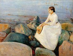 Edvard Munch Gallery > Women Paintings > Summer Night (Inger on Shore)