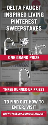 Delta Faucet Inspired Living Pinterest Sweepstakes  Create a board and share what inspires you in your home and include pins from Delta Faucet Inspired Living, http://www.deltafaucet.com/inspiredliving.  Enter here: http://dlta.co/1c6Dgml   #DFKitchenInspiration