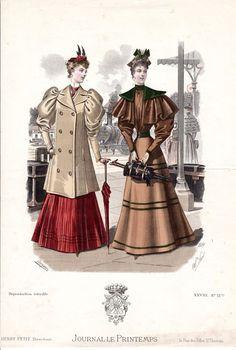 Gravure de Mode-Le journal le Printemps . Vers 1895