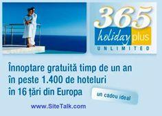 Vino la Road to Success - SiteTalk Day Romania, Sambata, 8 Martie de la ora 12.00 la Crystal Palace Ballrooms si ai sansa sa primesti :  - un numar nelimitat de nopţi de cazare gratuite timp de 365 zile - intr-o rețea de 2000 de hoteluri în Europa și 12 în Romania - 1 +1: plătesti pentru o persoană, beneficiază încă o persoană! - cazare în cameră dublă - perioada de ședere: între 1 și 6 nopți de cazare.