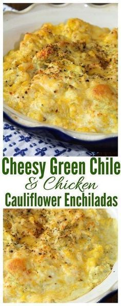Cheesy Green Chile & Chicken Cauliflower Enchilada Casserole A cheesy, green chile and chicken cauliflower casserole that is low-carb and full of flavor. Green Chicken Enchiladas, Green Chili Chicken, Chicken Chile, Cheesy Chicken, Keto Chicken, Cracker Chicken, Green Chilli, Cooked Chicken, Chicken Cauliflower Casserole