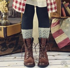 Dress up your boots with these simple lace boot liners, perfect for skirts  and jeans.
