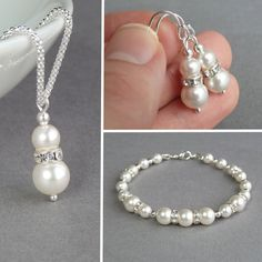 White Pearl Bridal Jewellery Set - Ivory Pearl and Crystal Jewelry for Brides - Necklace, Bracelet and Drop Earrings - Bridesmaid Gifts