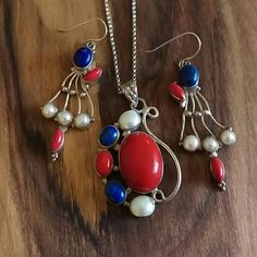 Coral, lapis, & pearl 925 earring & necklace set Minor wear. Stamped 925.  Chain is 16 inch long. Jewelry Necklaces