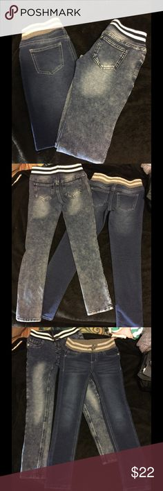 2 PAIR SZ 8 🌟DENIM STRETCH JEANS~SUPER COMFY~NWT I finally found the other pair I had put away. 1 is a light wash blue and the other is a darker blue. These are super comfy and cute skinny jeans the tweens are loving today. Bought these too small, forget how shes growing! UHG!! Lol Arizona Jean Company Bottoms Jeans