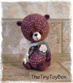 Единственный в своем роде художник миниатюрный медведь/кукла винтажный стиль от thetinytoybox нитки для вязания крючком