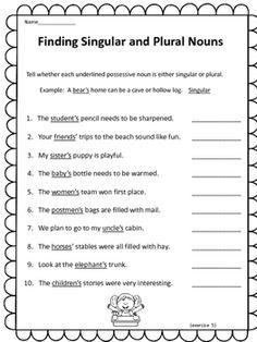 Plural Possessive Nouns Worksheets … | 4th grade | Pinte…