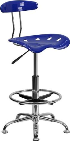Flash Furniture Lf 215 Nauticalblue Gg Vibrant Nautical Blue And Chrome Drafting Stool With Tractor Seat Home Office, Home Bar Areas, Tractor Seats, Red Tractor, Drafting Chair, Drafting Tables, Stand Up Desk, Modern Stools, Black Floor