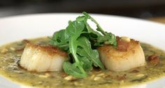 Rick Bayless | Seared Sea Scallops with Roasted Tomatillos and Green Olives