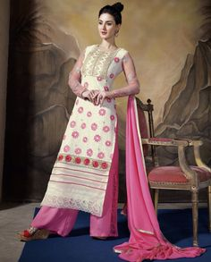 Cream and pink long suit with heavy embellished yoke   1. Cream and pink poly georgette long embroidered suit2. Resham thread and sequins floral embroidered motif on hemline and sleeves3. Comes with matching bottom and dupatta4. Can be stitched upto size 42 inches