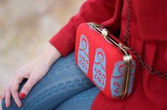 Bolsito matrioskas #rojo tricotado, en rojo y azul #estilo