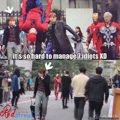 GOT7's manager XD it's so hard to manage 7 idiots XD | allkpop Meme Center