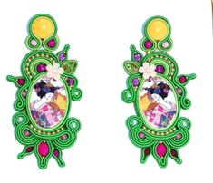 Japanese porcelain bead embroidery soutache earrings large long gift for her #soutache #BeadEmbroidered #geisha #japanese #PartyJewelry #BeadEmbroidery #SoutacheEarrigs #JapaneseCherries #AnniversaryJewelry