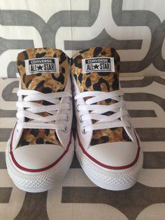 21e664c59f1f Pick your color custom Converse with cheetah print by MizMaryMacks White  Leopard