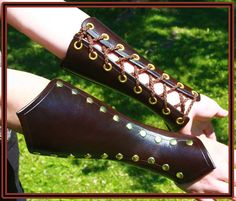 Corset Style Bracers Brown and brass Steampunk