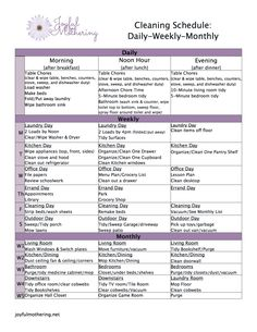 Free Cleaning Schedule Printable -- I'm not a stay at home mom so I'll just use this layout with a rough idea for when things should get done