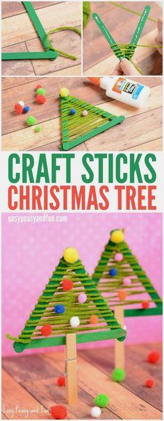 Fun And Easy Crafts For Kids : Easy Christmas Crafts for Kids using Popsicle Sti. Stick Christmas Tree, Preschool Christmas, Christmas Activities, Christmas Crafts For Kids, Cute Crafts, Craft Stick Crafts, Christmas Projects, Preschool Crafts, Kids Christmas