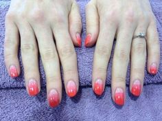 Ombre nails using Jessica Custom Nail Colours in Samba Parade and Confident Coral.