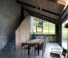 Stable, forge and railway station: the house La Micheline in Wallonia, Belgium is an architectural jem. Recently photographers Anne and Jean-Luc Laloux converted the building and transformed it into the country home of our dreams. Architecture Renovation, Architecture Design, Interior And Exterior, Interior Design, Design Interiors, Country Furniture, Stables, Renting A House, Kitchen Design