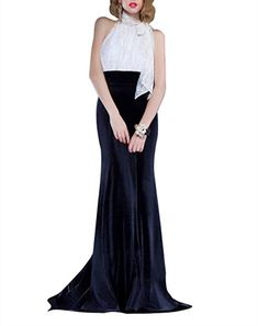 Newdeve Halterneck Sleeveless Mermaid Silhouette Evening Dress Crafted in Lace and Velvet Women's Evening Dresses, Formal Dresses, Mermaid Silhouette, Velvet, Lace, Crafts, Fashion, Dresses For Formal, Moda