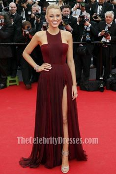Blake Lively Burgundy Prom Dress Cannes 2014 Red Carpet, $170