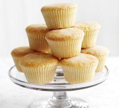 Lemon drizzle cakes Bbc Good Food Recipes, Baking Recipes, Yummy Food, Scone Recipes, Tasty, Vegetarian Recipes, Cupcake Recipes, Cupcake Cakes, Cup Cakes