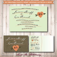 Printable Rustic Wood Grain Heart Wedding Invitation & RSVP