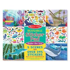 Reusable Sticker Pad – Under the Sea $4.99  Description Fill the five reusable scenes with more than 245 cling-style stickers, and create your own underwater adventures! To set the scene and spur the imagination, five glossy, full-color backgrounds (deep sea, shipwreck, kelp bed, coral reef, arctic) feature lots of space to play creatively. 3 Year Old Toys, Melissa & Doug, Creative Play, Wooden Crafts, Hd 1080p, Prehistoric, Gifts For Girls, Under The Sea, Create Yourself