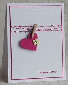 Sweet Clothesline Card...could make into a lovely Valentine card. Stampin' Up!