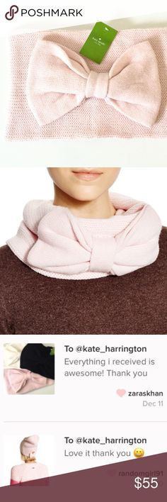 Kate Spade Bow Scarf Avoid those winter blues with Kate Spade's cold-weather accessories.  Details: NWT. This gorgeous neck warmer comes in a pale pink color with a flirty bow detail.   Kate Harrington Boutique does not trade or negotiate price in the comment section. However, for most items we may consider reasonable offers.   Happy Poshing! kate spade Accessories Scarves & Wraps