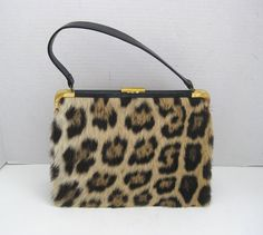 Mid Century Faux Leopard Skin Purse Handbag With Coin Purse and Mirror