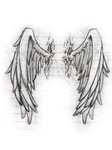 """Stars lower back tattoo. Angel tattoo – """"Dore Alley"""" – """"Up Your Alley Fair"""" Angel wings tattoos capital letter tatt… Tattoo Sketches, Tattoo Drawings, Drawing Sketches, Pencil Drawings, Art Drawings, Drawing Tips, Drawings Of Angels, Angel Wings Tattoo On Back, Angel Wings Drawing"""