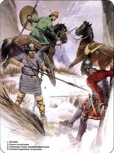 8th century 1 Gascon, cavalryman 2 Austrasian scara mounted Infantryman 3 Lombard gasindius cavalryman
