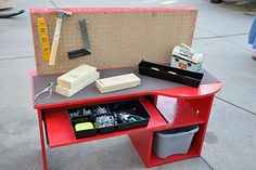 DIY kid's tool bench for the little man in your life. Super cute!