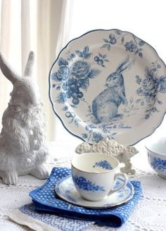 Bunny cottage with blue and white dishes Blue And White China, Blue China, Love Blue, China China, Blue Dishes, White Dishes, Somebunny Loves You, White Cottage, China Patterns