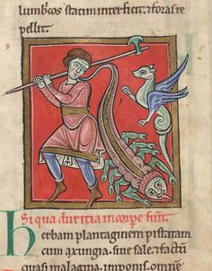 Illuminated miniature of a man holding a halberd, with a dragon and a scorpion. England, N.? or France, N.?
