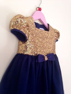 Girl's Gold Sequin and Navy Tulle Flower by SophiaGracieCouture