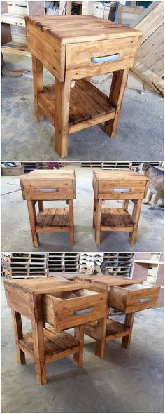 Wood pallet side tables with drawers has always stand out to be one of the favorite choice of the individuals in the old wood pallet use. Wood pallet side tables are much usefully placed in the rooms that are large in space. Its drawers coverage can be used for additional storage purposes.