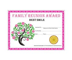 best smile award tree in bloom theme free family reunion certificate template - Free Family Reunion Certificates Templates