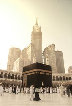 The Abraj Al-Bait Towers of Mecca, Saudi Arabia, seen from inside Al-Masjid al-Haram. Photograph by Saleh Waheed.