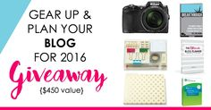 Gear up Your Blog for 2016 {#win $450} http://www.simplybloggingalong.com/giveaways/gear-up-plan-your-blog/?lucky=6850