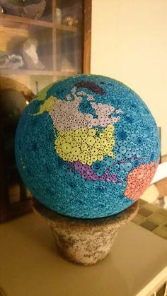 Quilled world globe
