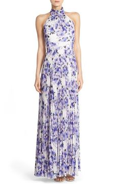 Eliza J Floral Chiffon Halter Maxi Dress available at #Nordstrom