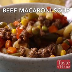Apr 2020 - You'll love my quick version of classic beef macaroni soup. Loaded with veggies and pasta, it's just as good as if you made it all from scratch. —Debra Baker, Greenville, North Carolina Healthy Soup Recipes, Beef Recipes, Vegetarian Recipes, Cooking Recipes, Simple Soup Recipes, Easy Recipes, Macaroni Soup Recipes, Beef Macaroni, Tasty Videos