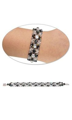 Jewelry Design - Bracelet with Swarovski Crystal Beads and Spacer Bars and Seed Beads - Fire Mountain Gems and Beads