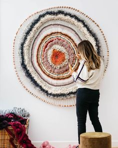 "Tammy Kanat creates textile art that's larger than life. Her colorful, highly-textural wall hangings feature organic circular and oval shapes that are a celebration of materials. ""For me,"" she says, ""weaving projects a mood. Weaving Projects, Weaving Art, Tapestry Weaving, Loom Weaving, Fabric Weaving, Rug Loom, Weaving Patterns, Knitting Patterns, Art Projects"