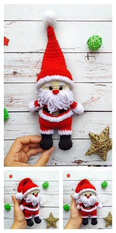 Crochet Santa, Crochet Teddy, Crochet Dolls, Crochet Christmas Decorations, Crochet Decoration, Christmas Crafts, Holiday Crochet Patterns, Crochet Amigurumi Free Patterns, Doll Patterns Free